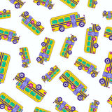 Bright cartoon school bus seamless pattern design for kids. Tren Royalty Free Stock Images