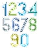 Bright cartoon striped numbers with rounded corners. Royalty Free Stock Images