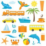 Bright cartoon travel icons Stock Photos