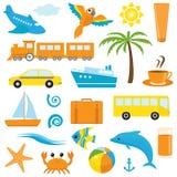 Bright cartoon travel icons Stock Photos