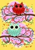 Bright, cartoonish, flirtatious, loving owls on the flowering branches of a tree. Spring, summer, girlfriends. Bright, cartoonish, flirtatious, loving owls on royalty free illustration