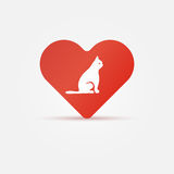 Bright cat in heart icon Royalty Free Stock Images