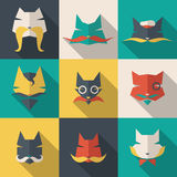 Bright cats. Icons set: character cats. Long shadow Royalty Free Stock Images