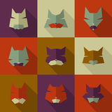 Bright cats. Icons set: character cats. Long shadow Royalty Free Stock Photography
