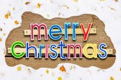Bright celebratory Christmas greeting with snowy frame Stock Photo