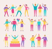 Bright Characters at Cheerful Party with Huge Cake Stock Photo
