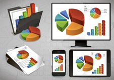 Bright Charts And Devices Stock Image