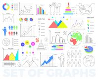 Bright Charts and Round Diagrams Illustrations Set. Bright charts and round diagrams with statistical data in numbers and percentage isolated vector Stock Images