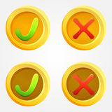 Bright check and cross vector buttons Royalty Free Stock Photo
