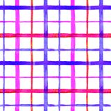 Bright checkered watercolor seamless pattern design in pink and blue colors palette. On white background royalty free illustration
