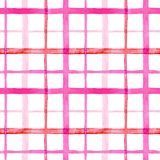 Bright checkered watercolor seamless pattern design in pink colors palette. On white background stock illustration
