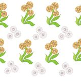 Bright cheerful background. Spring yellow flowers. Simple children`s vector illustration stock illustration