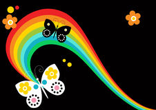 Rainbow and Butterfly Background Stock Images