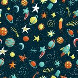 Vector seamless pattern of space objects stock illustration