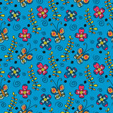 Seamless pattern with butterflies and flowers Royalty Free Stock Photos