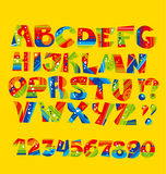 Bright childish style letter set. geometry textures funny font Royalty Free Stock Photos