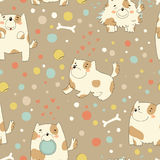 Bright children pattern with cute dog. Stock Photos
