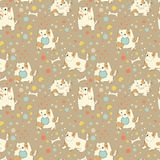 Bright children pattern with cute puppy. Stock Photos