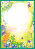 Bright Childrens frame. With caterpillars and butterflies royalty free illustration