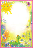 Bright Childrens frame. With sun, caterpillars and butterflies royalty free illustration