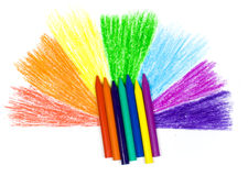 Bright children's wax pencils. And semicircle in the form of a rainbow royalty free stock images