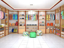 Bright childrens dressing room. 3d illustration vector illustration