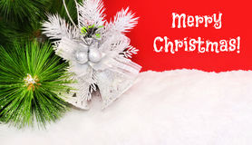 Bright Christmas background with a bell Stock Images