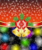 Bright christmas background with campanellis and red bow Stock Photography