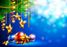Bright Christmas background with Christmas tree and toys Stock Image