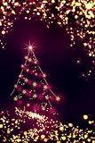 Bright christmas background with firtree and stars Stock Photos