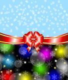 Bright christmas background with a red bow Stock Photography