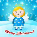 Bright Christmas background with small funny angel Stock Images