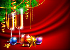 Bright christmas background. With toys and glasses of champagne Stock Photos