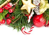 Bright Christmas Background with Xmas Decoration Stock Photos
