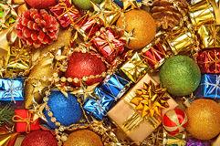 Bright christmas baubles, toys, garland Stock Images