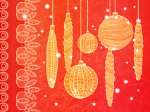 Bright Christmas card with balls Stock Images