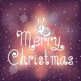 Bright Christmas card with bunny Royalty Free Stock Photo