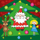 Bright Christmas card with funny characters Stock Image