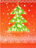 Bright Christmas card with green tree Royalty Free Stock Photo