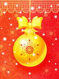 Bright Christmas card with hanging golden ball. Bright Christmas greeting card with hanging golden ball, golden ribbon and snowflakes. Eps10 Stock Illustration