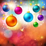Bright Christmas card with realistic xmas balls. Stock Image