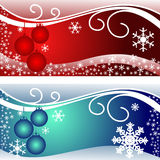 Bright christmas Cards in red and blue. Royalty Free Stock Photos