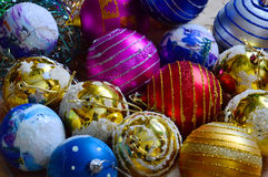 Bright Christmas colored balls. Yellow, red, blue stock photos
