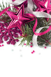 Bright christmas composition. With ribbons, stars, snowflake and xmas tree on white background. Isolated. Space for text Stock Photo