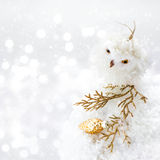 Bright Christmas composition with decorations and snow on Defocu Stock Photography