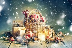 Bright Christmas Composition Gifts Candle Basket Stock Photos
