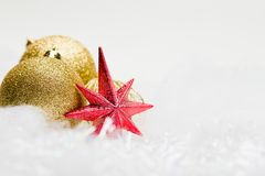 Bright christmas composition with red star Stock Image