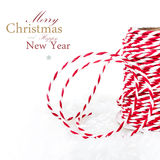 Bright Christmas composition with ribbon decorations and snow is Stock Images