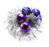 Bright Christmas decorations. Bright blue and purple Christmas decorations stock photo