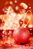 Bright Christmas Decorations with Red Shining Bauble Royalty Free Stock Image